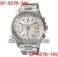 New EF-527D-7AV Men's Sport 527D Chronograph Watch White Dial Gents Wristwatch 1/20 Second Stopwatch Swing Pendulum Function