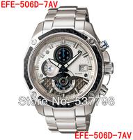 Brand Original New Mens Watch EFE-506D-7AV Chronograph Watch Sapphire Glass EFE-506D 506D Men White Dial Wristwatch
