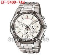 Original New Fashion 2013 Men's Sports Watch EF-540D-7AV EF-540D 540D White Face Wristwatch Stainless Steel Watches Waterproof