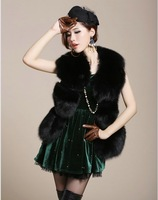 FREE SHIPPING 2013 vest women's faux sleeveless short design women's fashion outerwear  fur coat