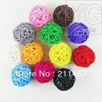Free shipping mix color  10pcs 8cm Rattan Balls Home Decoration Christmas Tree Decor Wicker Balls