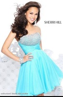 2014 New Arrival Blue Party Dresses Girls Sparking Crystal A-Line Lovely Short Mini Sexy Strapless Custom Made High Quality