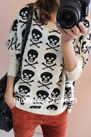 new fashion sexy women's Skull print O neck thick Knitted loose sweater Black beige Red Autumn sweater ladies sweater coat