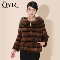 2013 short design genuine luxury mink fur overcoat women's real fur coat