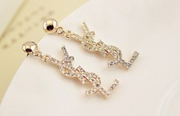 2013 free shipping fashion women jewelry,delicate rose gold plated full rhinestone crystal classic fine drop earring-wholesale