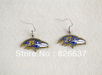 free shipping best selling   left and right facing Baltimore Ravens  sport earrings,10pairs a lot,