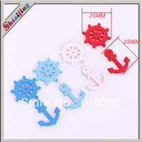 diy hand made Wooden Sea style Anchor and Rudder Charms multicolors