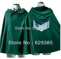 Wholesale 3 PCS Anime Shingeki no Kyojin Cloak Cape clothes cosplay Attack on Titan IN GREEN Free Shipping