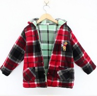 Hot sale baby girl and boy two sides wear coat toddllers bear hoodies outwear free shipping
