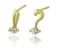 pure 14k  glod  women  Earrings small  mini ? ! simbols  earrings  jewelry gifts birthday and wedding  free shipping