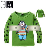 New Unisex Green Cartoon Bear Long Sleeve T Shirts Baby Boys Girls O-Neck Classic T-shirt In School Children Autumn Spring Tops
