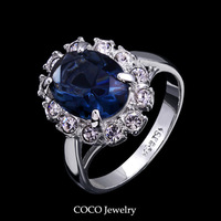 Blue Austrian Crystals Luxury CZ Diamond Ring Women High Quality Fashion Gold Plated Jewelry R010 Wholesale