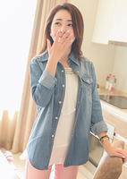 2013 casual plus size cotton long-sleeve slim 100% turn-down collar denim shirt thin shirt outerwear female