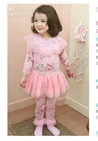 Wholesale - 2013 New Fashion Korean Baby Girls Floral Lace Pure Cotton Leggings Skirts Princess Style Baby Children Girls Warm F
