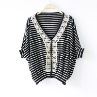 2013 autumn women's V-neck sweater female vintage stripe pullover batwing sweater shirt