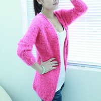 2013 women's autumn polka dot medium-long mohair cardigan sweater outerwear female