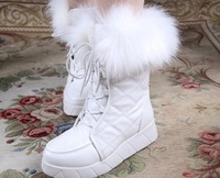 Med boots flat heel, Hot sale! 2014 Fashion dress casual handsome style for lady. High quality PU. Free shipping!