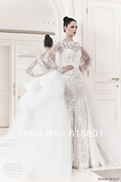 Fashion 2014 Custom Made Lace Applique Tulle Sheath Long Sleeves Floor Length Formal Bridal Gowns