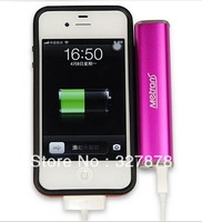 Free Shipping  Luxury Lipstick Shape Metrans USB 2600 mAh Power Bank Portable Battery Charger