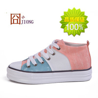 Autumn female canvas shoes casual shoes high color block decoration platform shoes platform lacing female skateboarding shoes