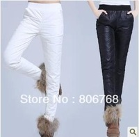 Free Shipping Winter Woman Warm Down Pants Winter Warm Keeper Ladies Trousers Filler White Duck Down Black/White