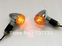 Brand New Universal motorcycle light , motorcycle Chrome Amber Bullet Turn Signals Lights Free Shipping
