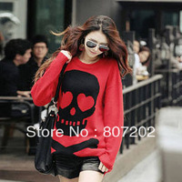 Free shipping fashion skeleton head long sleeve/o-neck red women's sweaters,Wholesale/Retail