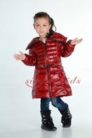 Children's clothing female winter child long design belt slim down coat outerwear