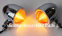 Free Shipping Brand New Chrome Amber Bullet motorcycle Turn Signal Light motorcycle Lamp