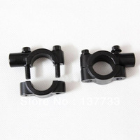 Aluminum Bike Motorcycle Handle Bar Mount Clamp Holder for Rearview Mirror - Black (Pair)