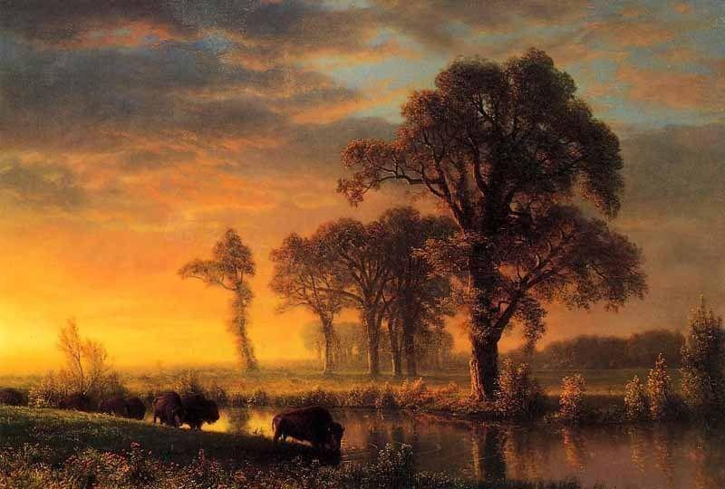Olieverfschilderij van de kunst koeien kansas westerse reizigers kruis rivier in de - Westerse fauteuil ...