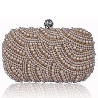 New arrival 2013 luxury Women fashion day clutch bag with pearl free shipping