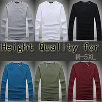 2013 Fashion Mens t shirts 100% cotton casual long sleeve t shirts high quality slim men's tshirt 6 colors Plus size M-5XL W1138