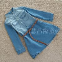 3T-8Y baby denim dresses for girls long/full sleeve girl dress with belt children kids autumn-summer casual pocket dress girl