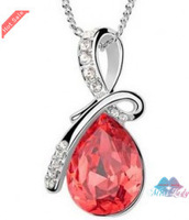 Wholesales Fashion Jewelry 18K Gold Plated Rhinestone Crystal Korea Water Drop / Tear Necklaces & Pendants for women 8039