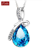 GS Brand XL-23 free shipping 2014 for women 925 sterling silver Angle tears Austria crystal platinum plated pendant necklaces