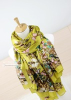 Silk mulberry silk scarf ultralarge ultra long romantic butterfly paragraph female cape scarf
