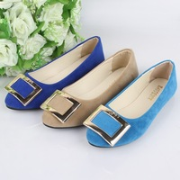 New arrive women flats shoes Metal buckles decorated women flats pointed toe single shoes candy color autumn solid color