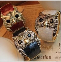 Min. order is $9 (can mix style)Fashion vintage punk oil owl bracelet hand ring opening SL022