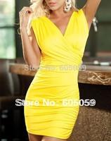 Deep V-Neck Sexy Women Club Wear Evening Dresses Black Yellow Sleeveless Sheath Dropped Dress G-string Set uwc105