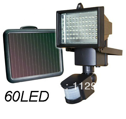 8pcs/lot promotion Solar LED Flood Security Garden Light with PIR Motion Sensor 60 LEDs outdoor solar security lamps wholesale(China (Mainland))