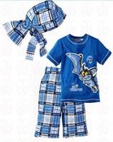 Baby Boys Blouse Fashion T-shirt Clothing Sets Kids t shirts Shorts Plaid Pants Headband Clothes Set Blue Costumes