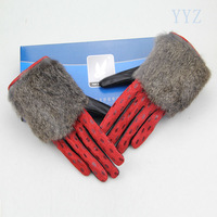 2013 women's genuine leather gloves sheepskin wool thermal plus velvet fashion personality repair the autumn and winter