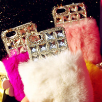 For iphone  4 4s  for apple   iphone5 5c 5s phone case mobile phone case side drill rabbit fur sleeve