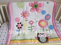 Lovely Pink Sun Flowers For Girls Baby Quilt  Nursery Comforter for Baby Cot Crib Bedding