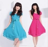 6102 # factory direct supply 2013 new women's fashion short-sleeved chiffon dress