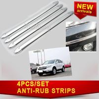 4PCS/set  Anti-rub Strip Car Body Protector Stickers Car Guard Anticollision Bumper Protection Silvery Anti-scratch Decoration