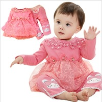 New arrival 2014 spring fashion baby girl clothing set 2pcs lace flower top with cartoon pants 3sets/lot wholesale