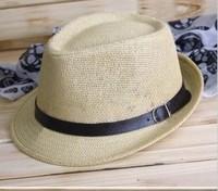Summer straw braid small fedoras fashion jazz hat beach male women's sun-shading strawhat strap hat