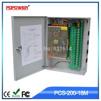 FREE SHIPPING!!!18 Channel CH CCTV Security Camera Power Supply Switch Box DC 12V 16.7A 200W, 110/220V AC Input, 2-year Warranty